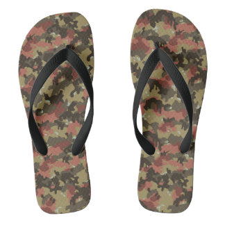 Camouflage Camo Woodland Khaki Green Rust Brown Thongs