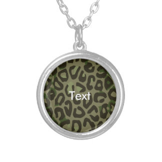 Camouflage Cheetah Abstract Round Pendant Necklace