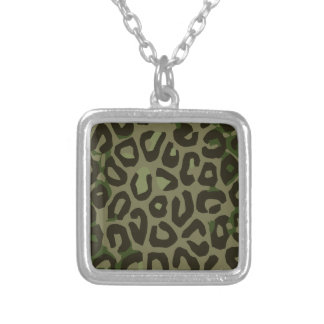 Camouflage Cheetah Abstract Square Pendant Necklace