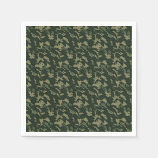 Camouflage Dark Green Gray Beige Camo Design Disposable Serviette