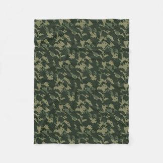 Camouflage Dark Green Gray Beige Camo Design Fleece Blanket