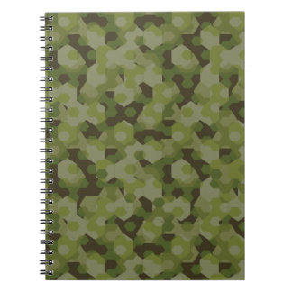 Camouflage geometric hexagon notebooks