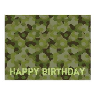 Camouflage geometric hexagon postcard
