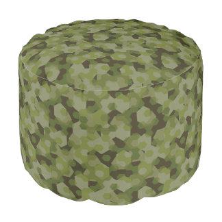 Camouflage geometric hexagon pouf