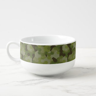 Camouflage geometric hexagon soup mug