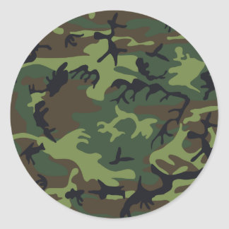 Camouflage Green Round Sticker