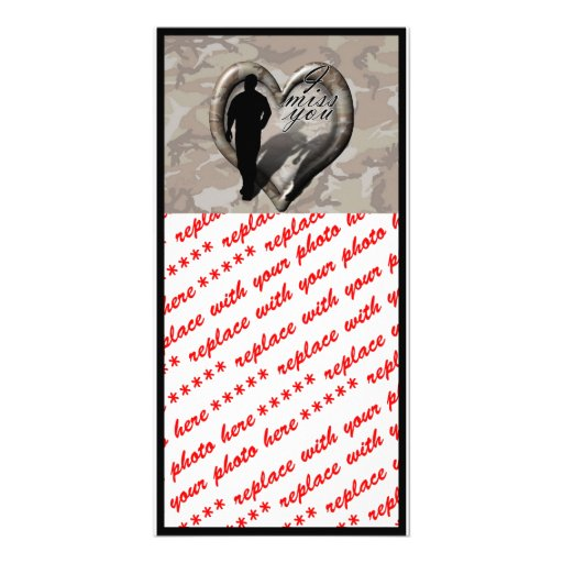 Camouflage Heart - Man Missing Man Customized Photo Card