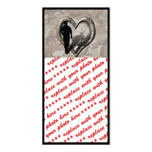 Camouflage Heart - Man Missing Woman Photo Cards
