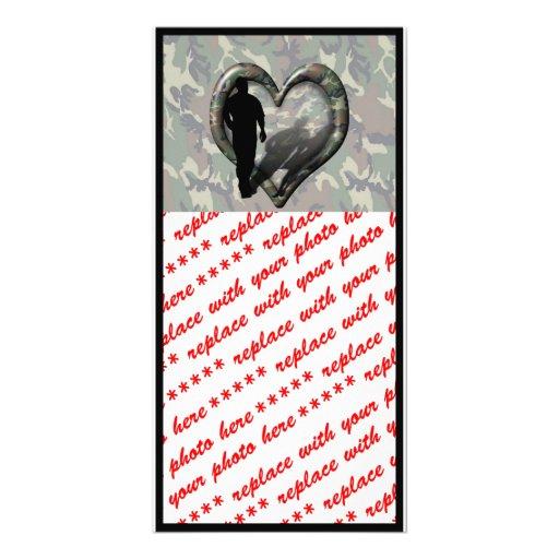 Camouflage Heart - Man Missing Woman Custom Photo Card
