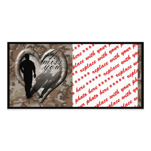 Camouflage Heart - Man Missing Woman (w/Text) Custom Photo Card