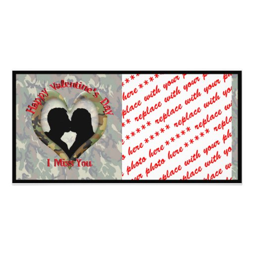 Camouflage Heart - Missing You on Valentine's Day Picture Card