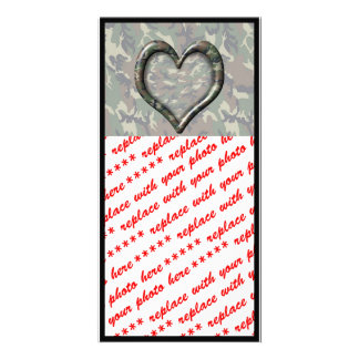 Camouflage Heart Photo Greeting Card