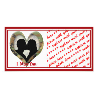 Camouflage Heart with Kissing Couple Photo Card Template