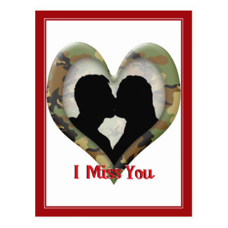 Camouflage Heart with Kissing Couple Postcard