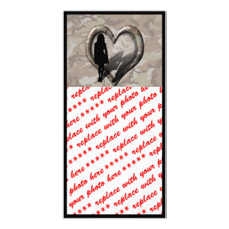 Camouflage Heart - Woman Missing Man Customized Photo Card