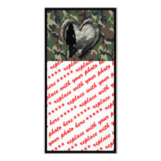 Camouflage Heart - Woman Missing Man Photo Card Template