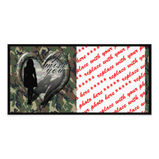 Camouflage Heart - Woman Missing Man (w/Text) Customized Photo Card