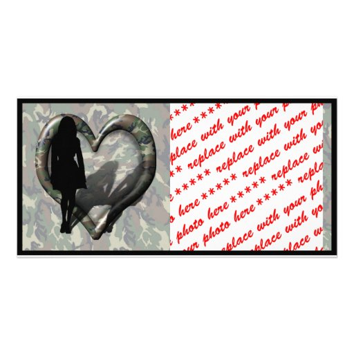 Camouflage Heart - Woman Missing Woman Photo Greeting Card