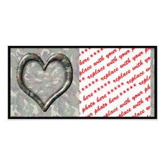 Camouflage Heart - Woodland Personalized Photo Card