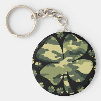 camouflage irish four leaf clover basic round button key ring