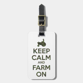 Camouflage Keep Calm and Farm On Luggage Tag