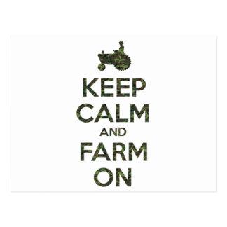 Camouflage Keep Calm and Farm On Postcard