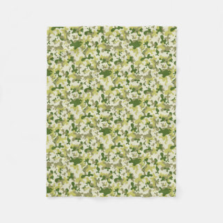 Camouflage Light Green Grey Beige Camo Design Fleece Blanket
