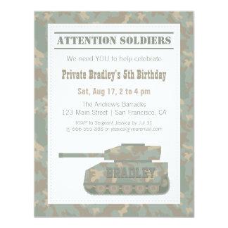 Camouflage Military Print Army Tank Birthday Party 11 Cm X 14 Cm Invitation Card