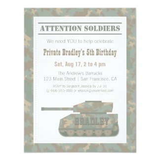 Camouflage Military Print Army Tank Birthday Party 4.25x5.5 Paper Invitation Card