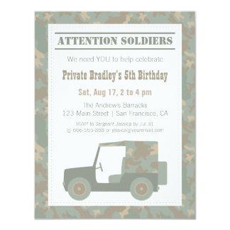 Camouflage Military Print Jeep Army Birthday Party 11 Cm X 14 Cm Invitation Card