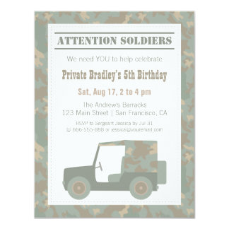 Camouflage Military Print Jeep Army Birthday Party 4.25x5.5 Paper Invitation Card