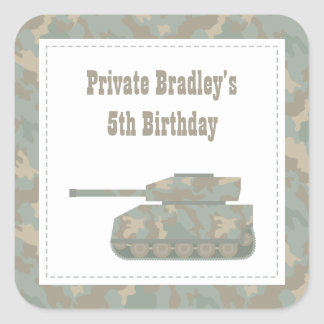 Camouflage Military Print Tank Army Birthday Party Square Sticker