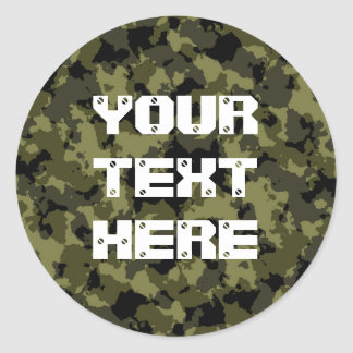 Camouflage military style classic round sticker