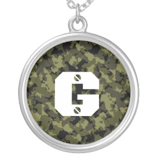 Camouflage military style silver plated necklace
