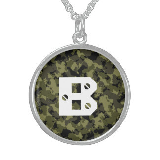 Camouflage military style sterling silver necklace