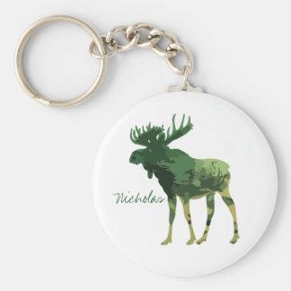 Camouflage Moose Animal Nature art Custom Name Key Ring