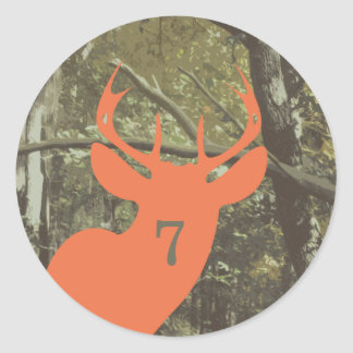 Camouflage + Orange Deer Birthday Classic Round Sticker