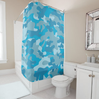 Camouflage Pattern in Blue Shower Curtain