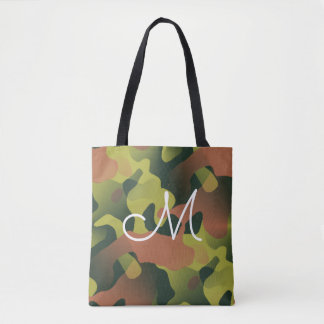 Camouflage Pattern Monogram Tote Bag
