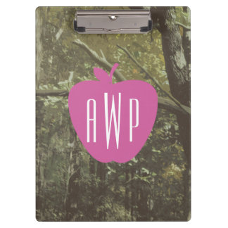 Camouflage + Pink Apple Monogrammed Teacher Clipboard