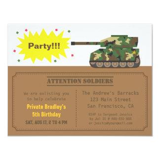 Camouflage Print Tank Boy Birthday Party 4.25x5.5 Paper Invitation Card