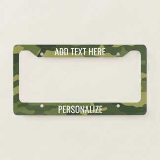 Camouflage Print with Custom Add 2 Lines Text Licence Plate Frame