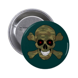 Camouflage Red Eyes Skull And Crossbones Button