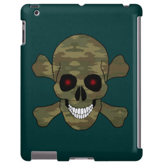 Camouflage Red Eyes Skull And Crossbones iPad Case