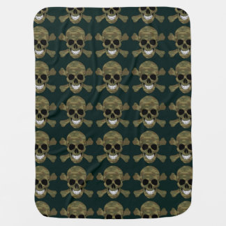 Camouflage Skull And Crossbones Baby Blanket