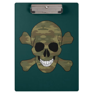 Camouflage Skull And Crossbones Clipboard