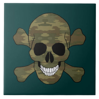 Camouflage Skull And Crossbones Tile