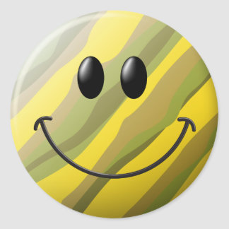 Camouflage Smiley Face Classic Round Sticker