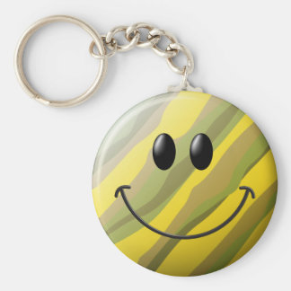 Camouflage Smiley Face Key Ring
