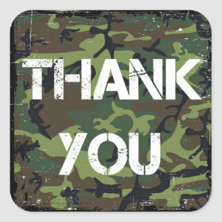 Camouflage Thank You Stickers